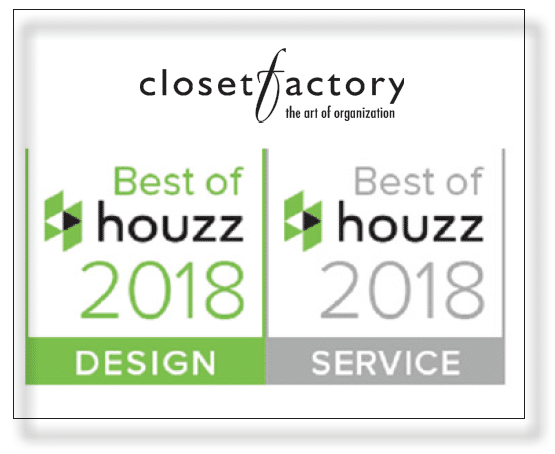 "Closet Factory Offices Receive 42 ""Best of Houzz 2018"" Awards for Outstanding Design and Customer Service"