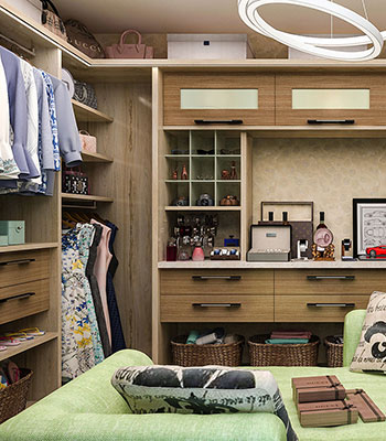Large walk-in closet with floated drawers