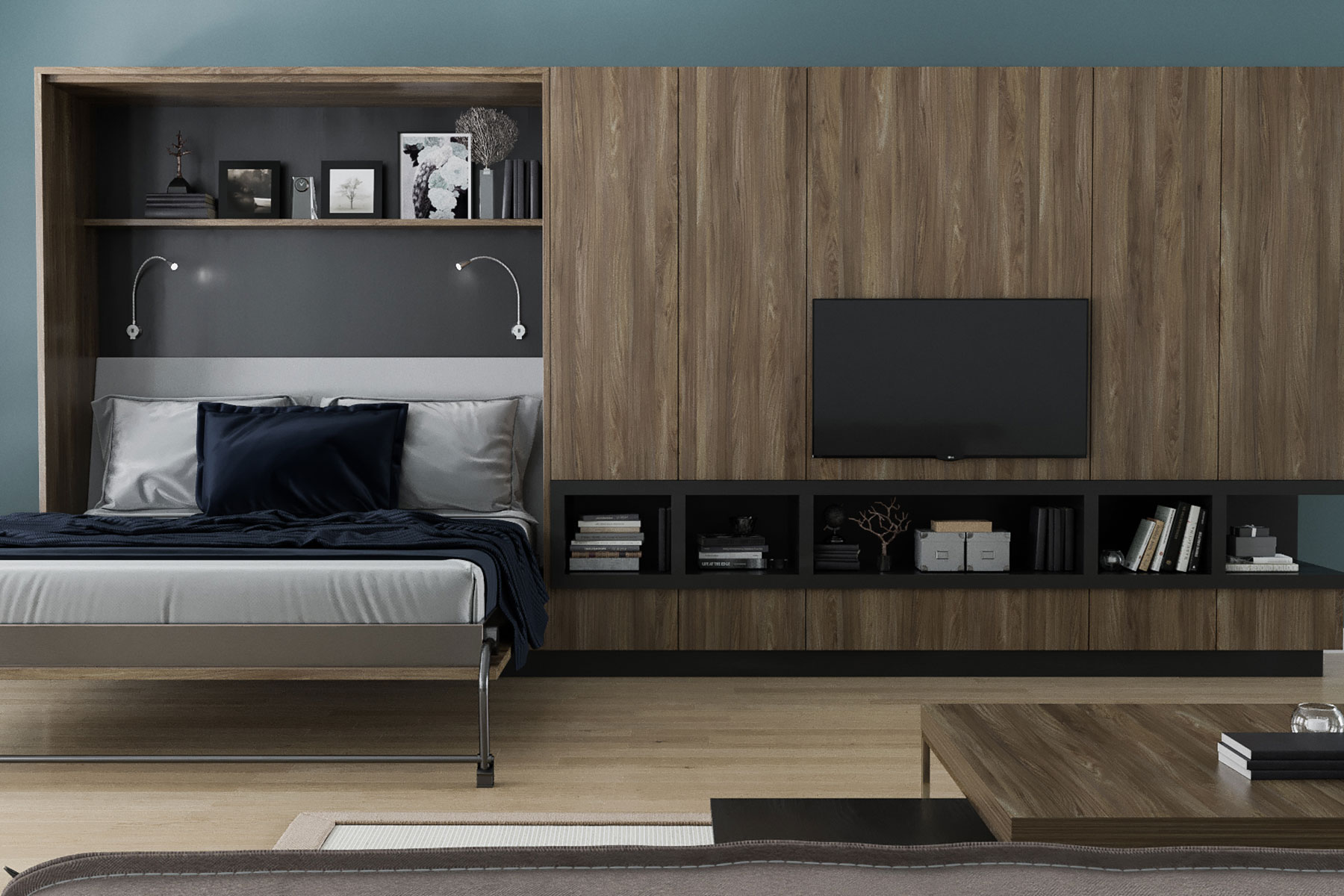 Textured Materials Make This Modern Wall Bed System Stand Out. Slab Style  Doors And Charcoal ...