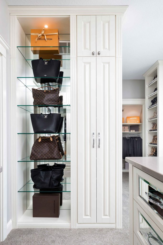 Glass shelving for handbags