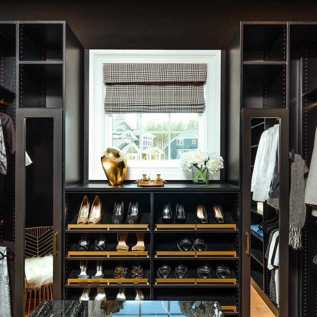 parade of homes walk-in closet in black