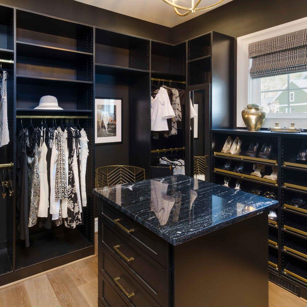 black wardrobe walk-in closet