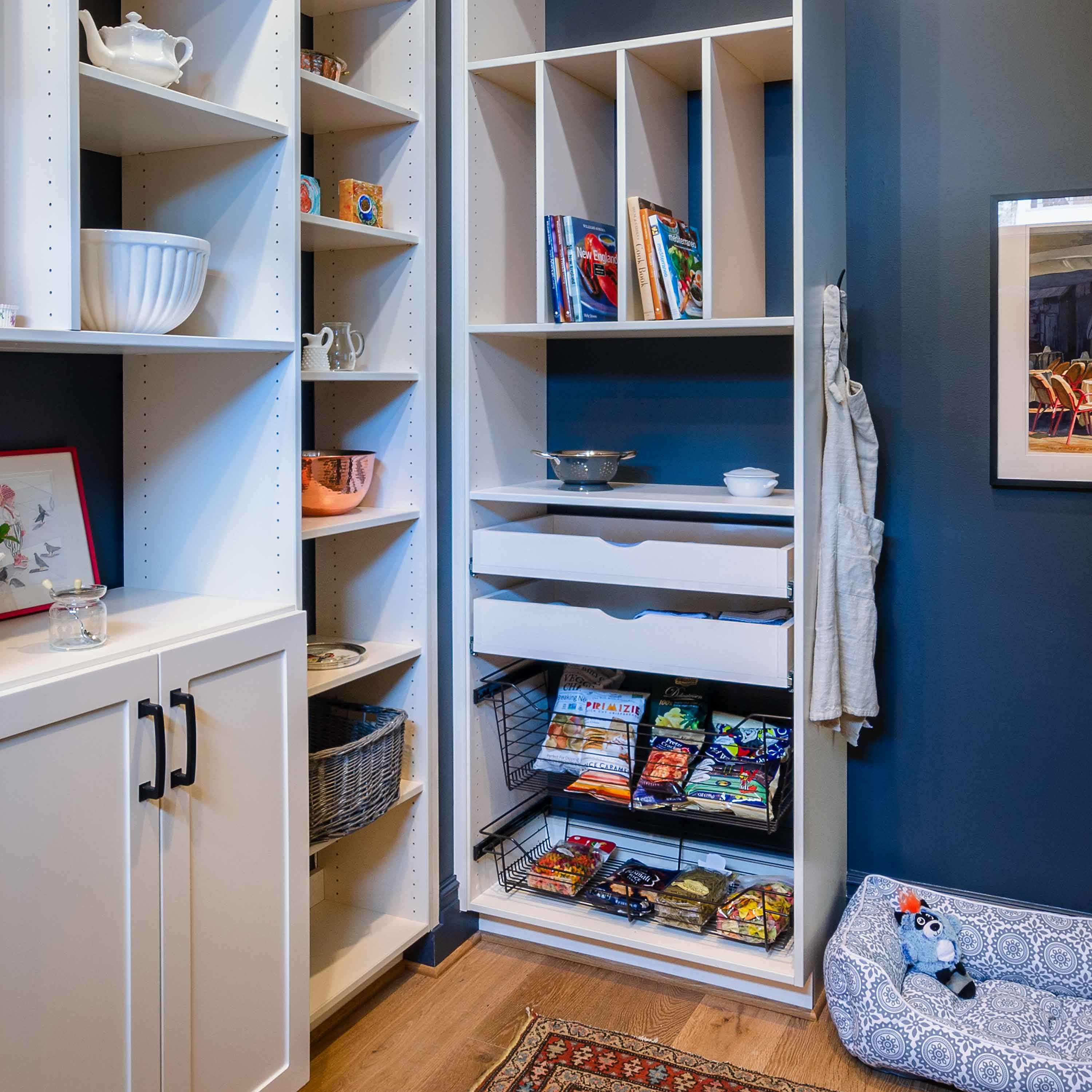 pantry closet with blue walls