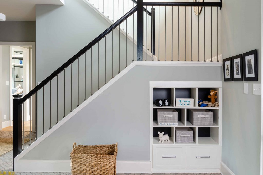 builtin cabinets under stairs