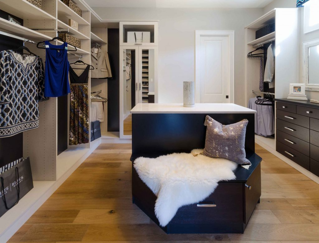 master bedroom closet with island