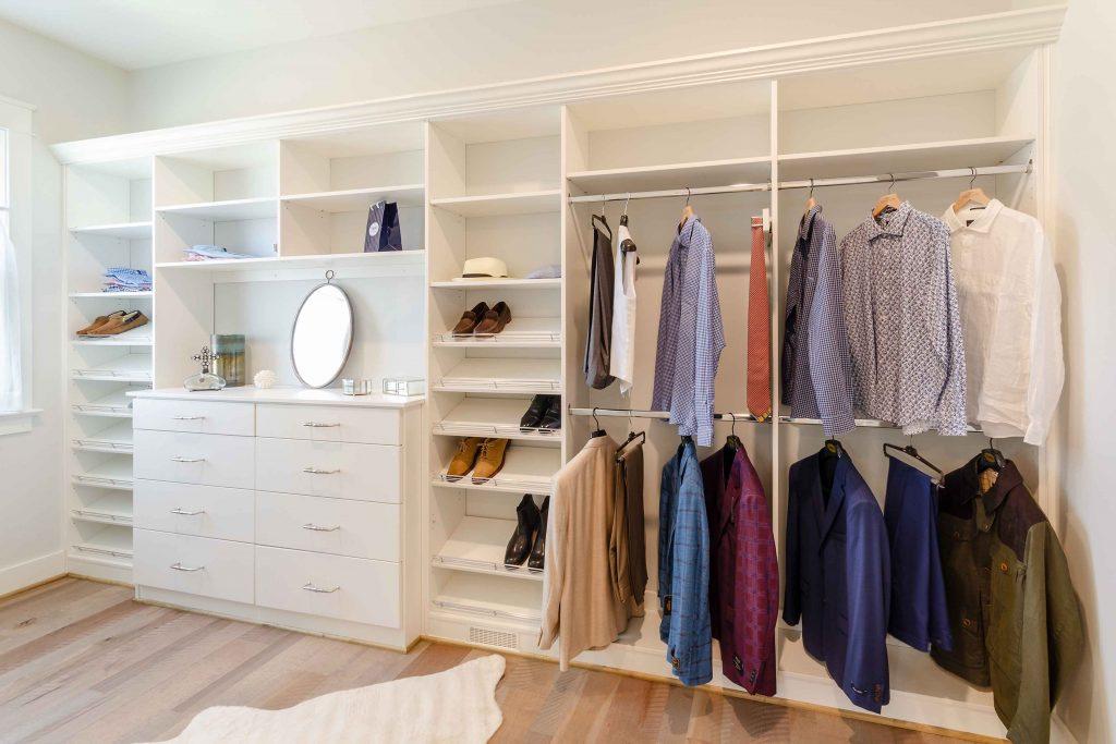 Custom closet system by Closet Factory.