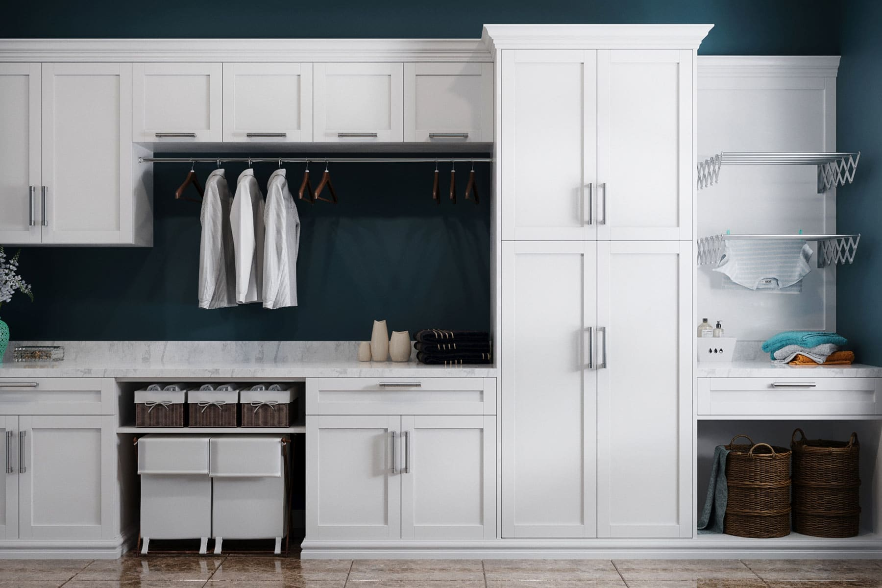 Laundry Room With Shaker Style Doors In White