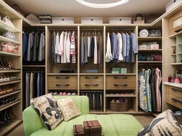 custom closet couch seat.