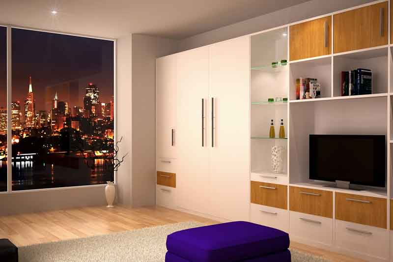 Murphy bed system in an urban apartment.