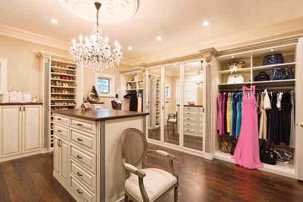 Luxury acanthus style wood custom closet