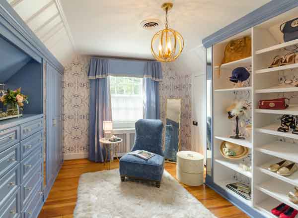 blue painted wardrobe closet by richmond office