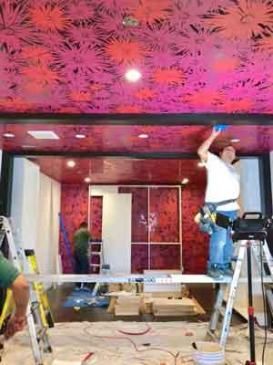 Custom wallpaper was used to enhance Bella Thorne's custom closet