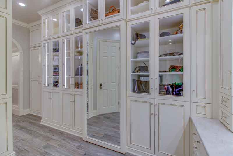 Custom dressing rooms can include designer cabinetry