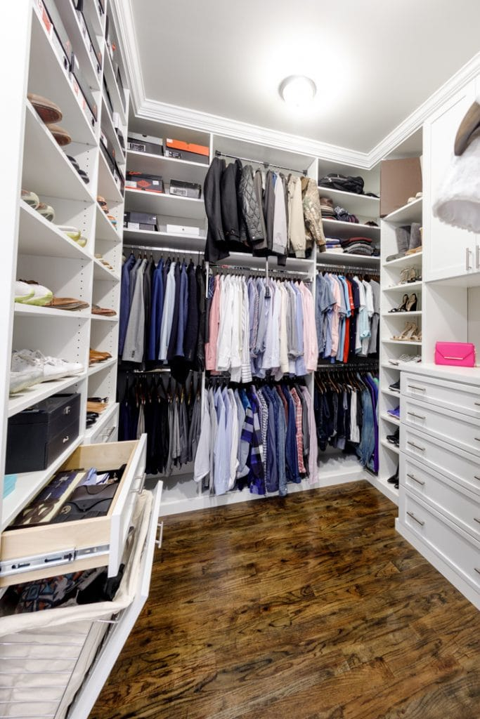 Custom closet system is organized