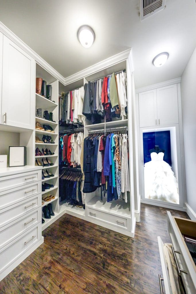 Complete closet system that highlights wedding dress
