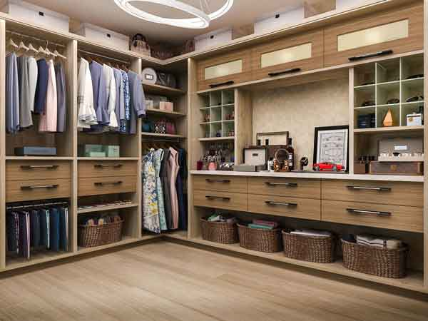 A walk-in closet design with custom features