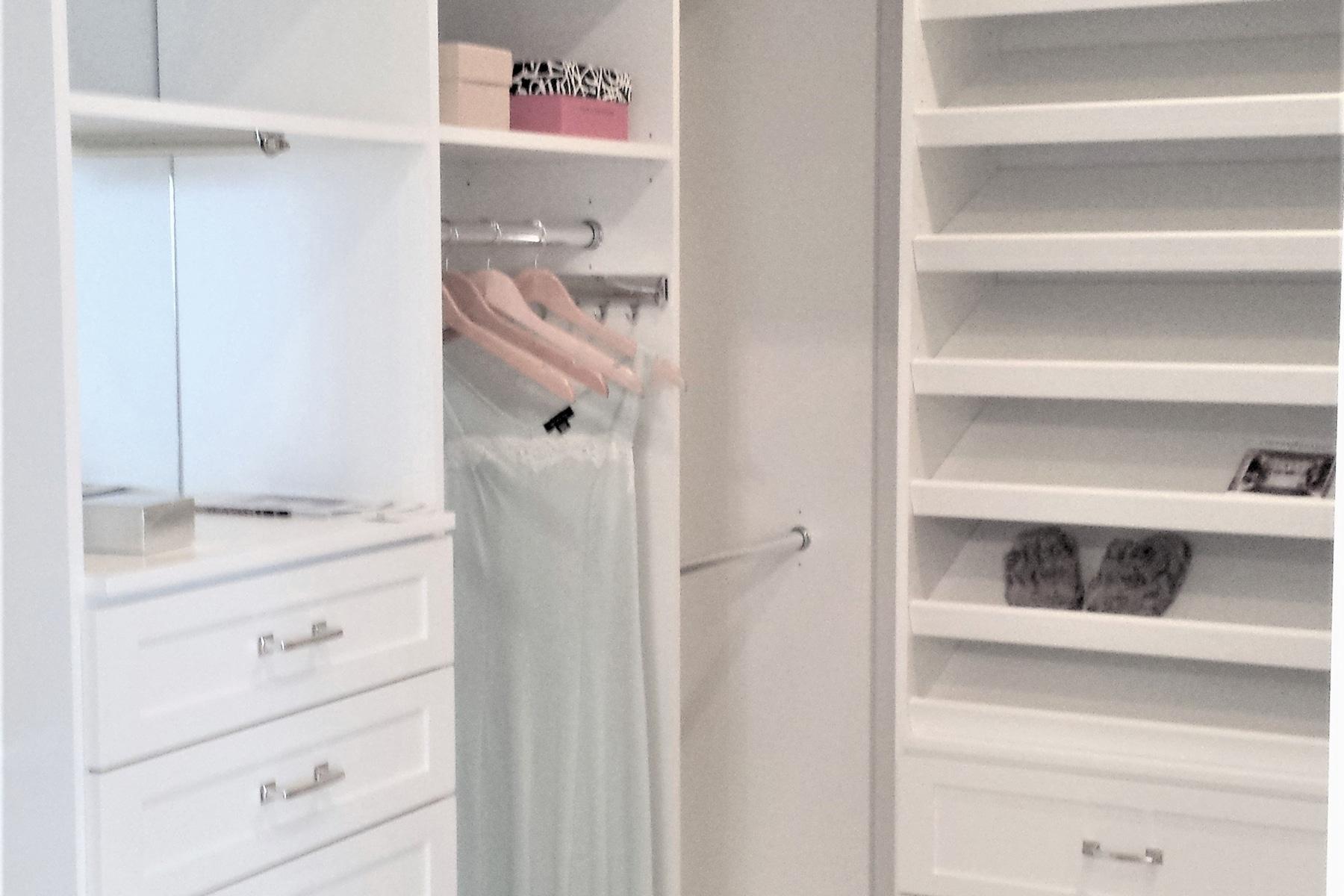 White custom closet designed by Karen fleming