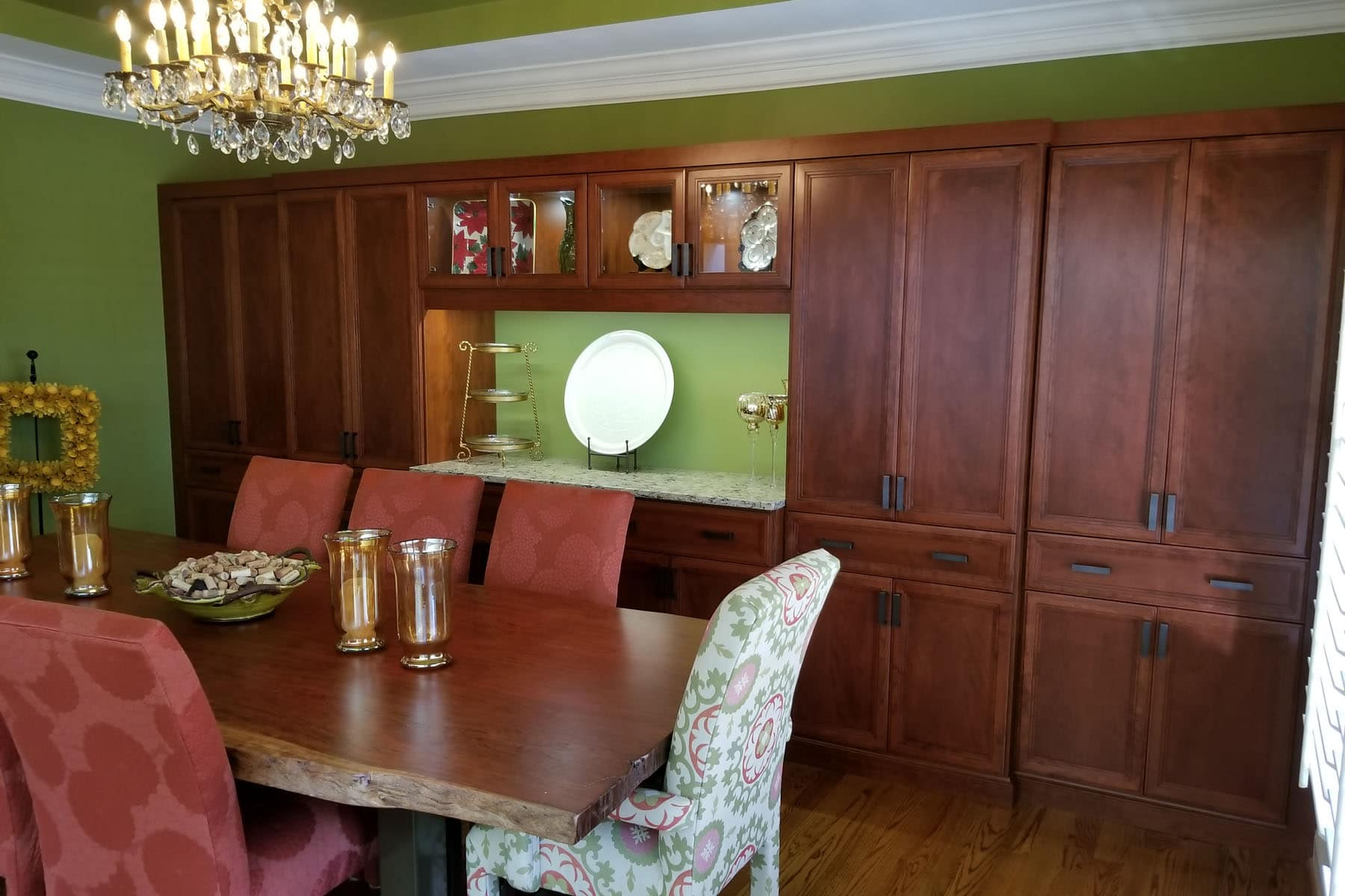 Brown wall unit in a dinning room