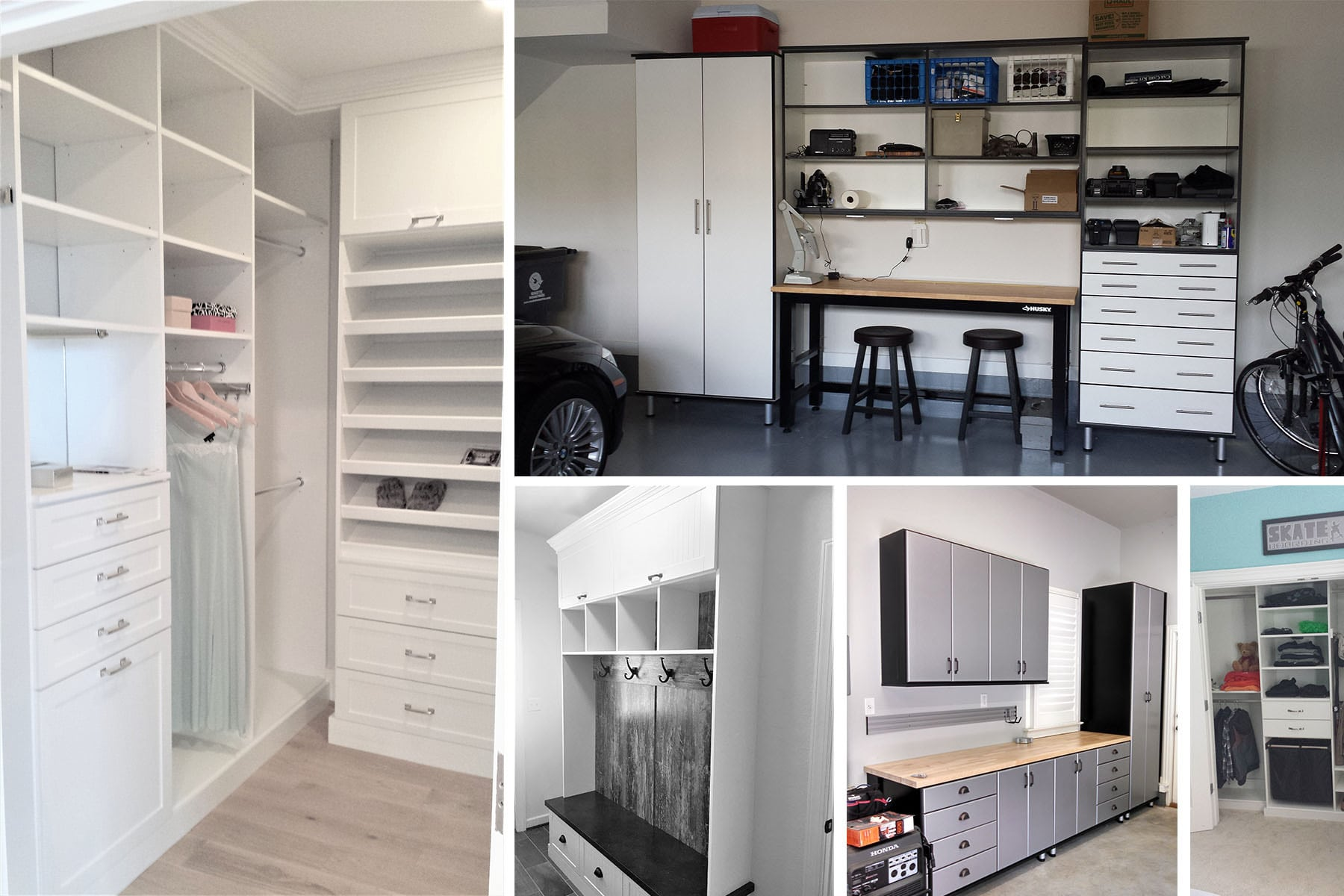 Collage of custom closets, garages, and a mud room version 2