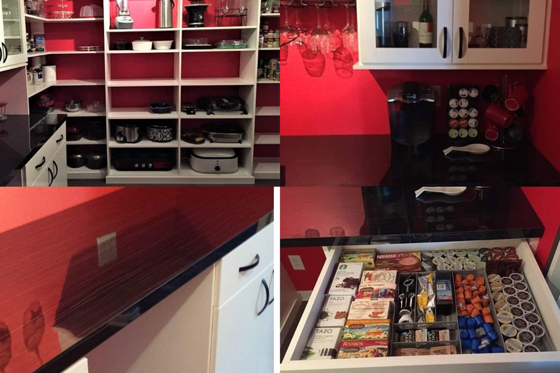 Collage of a red pantry room