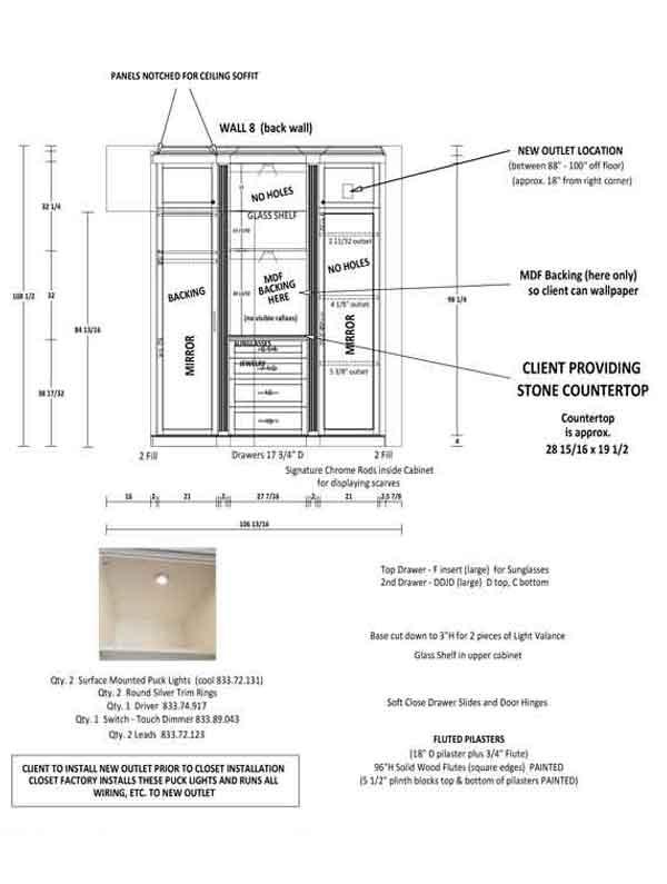 Professional design for custom walk-in closet