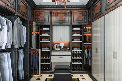 Asian style walk-in bedroom closet for a man.