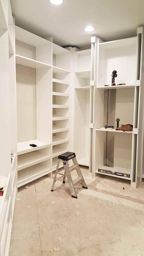 building custom dressing room cabinets