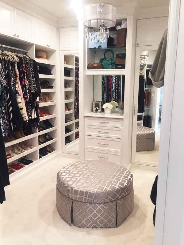 Custom walk-in closet design for difficult space