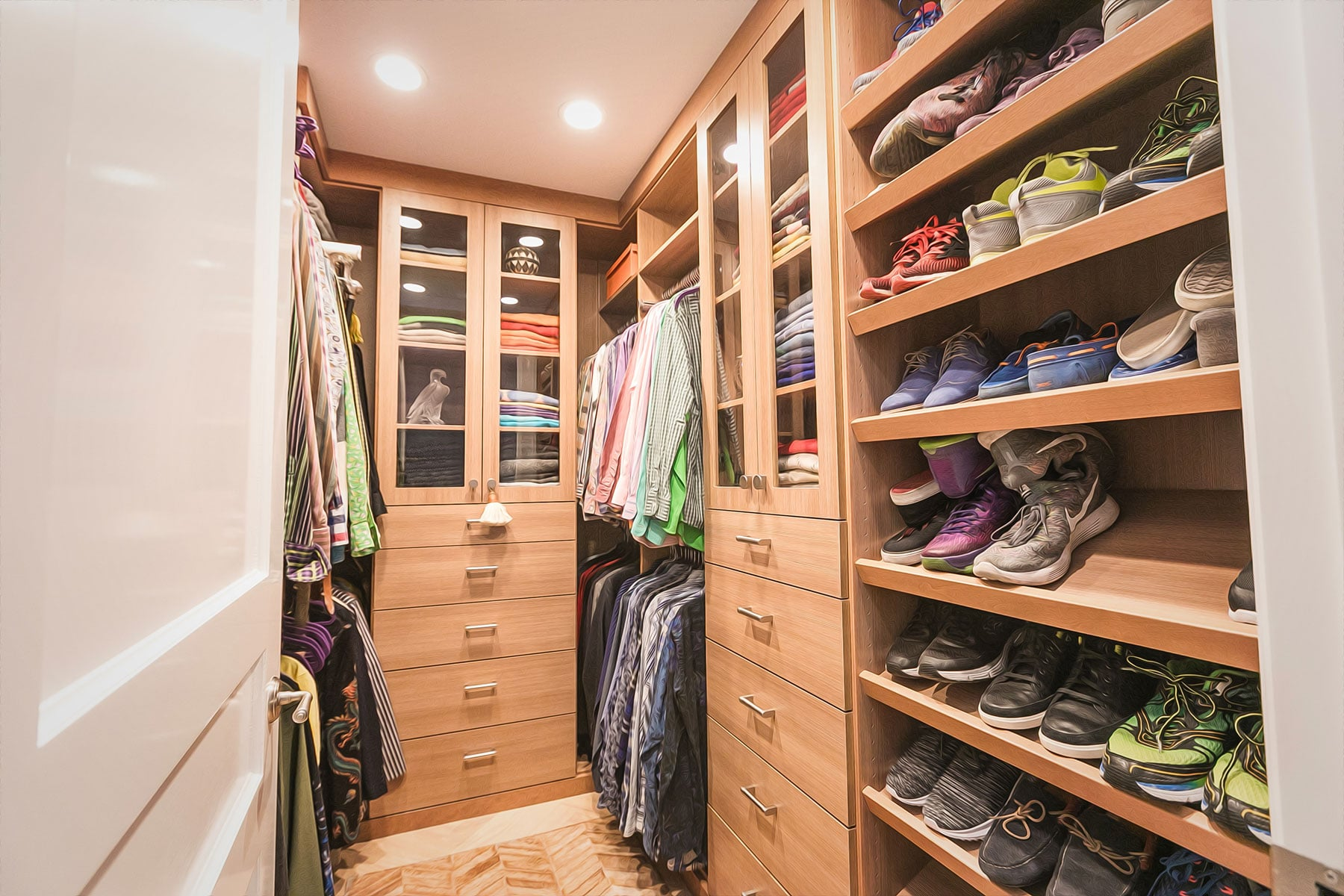 Walkin Closet For Men With Multiple Banks Of Drawers In Woodgrain