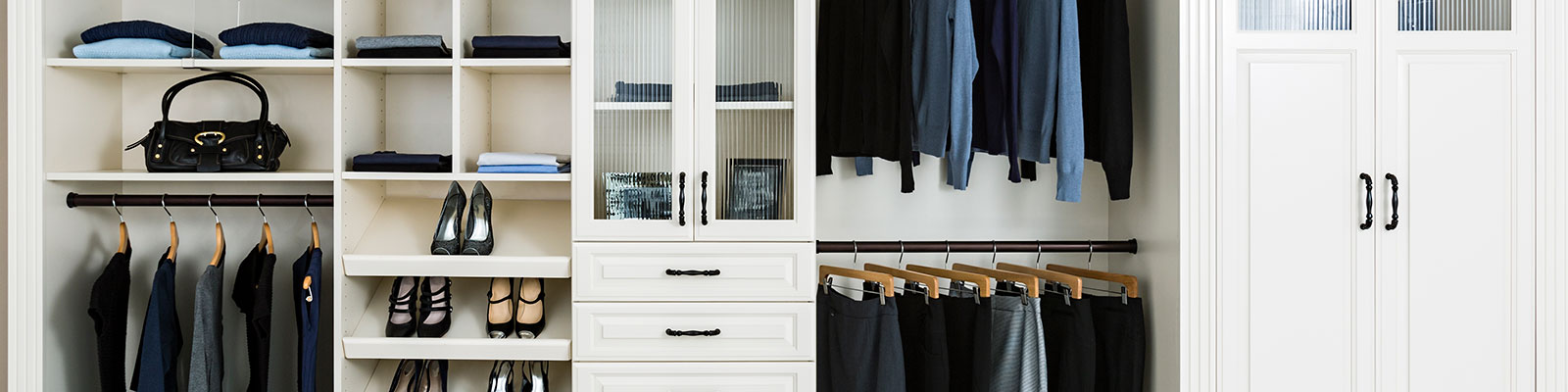 closeup of closet organization sections