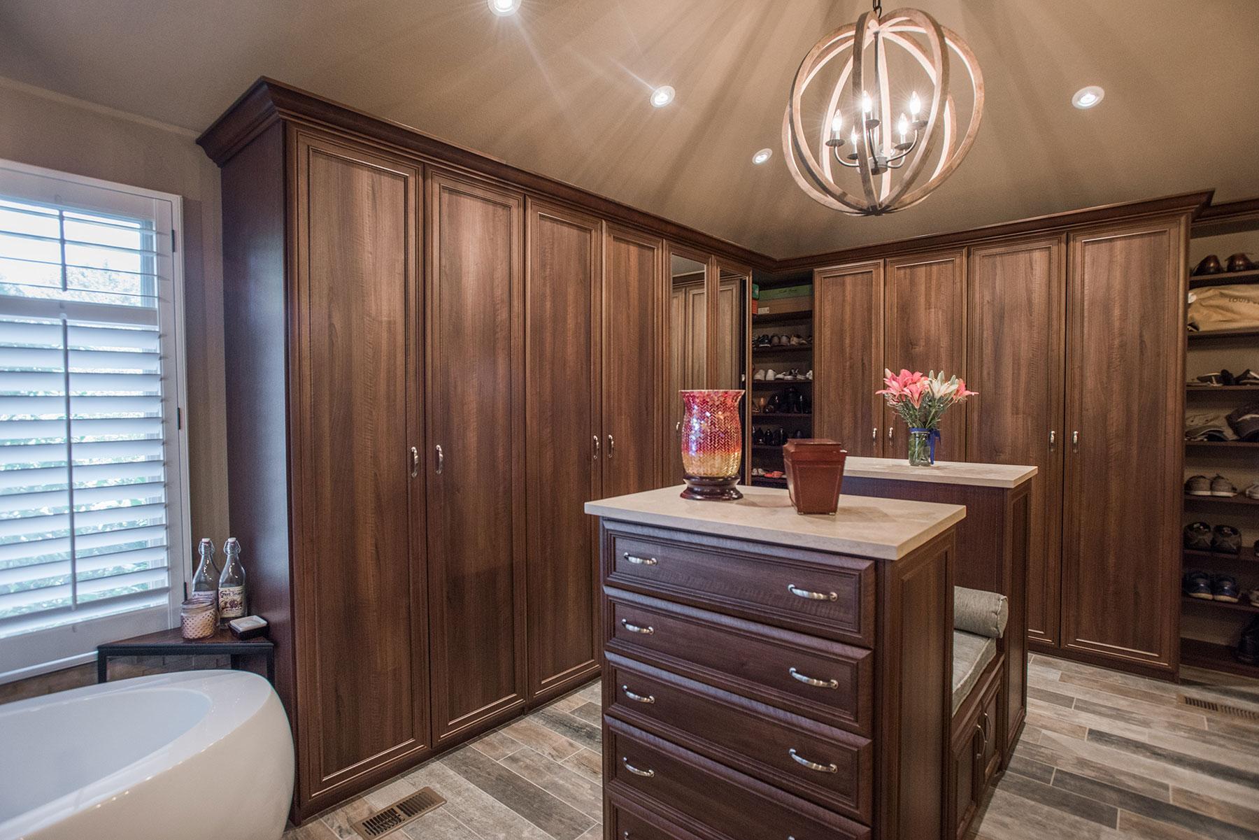 Wood Wardrobe Corner Units In Master Bath