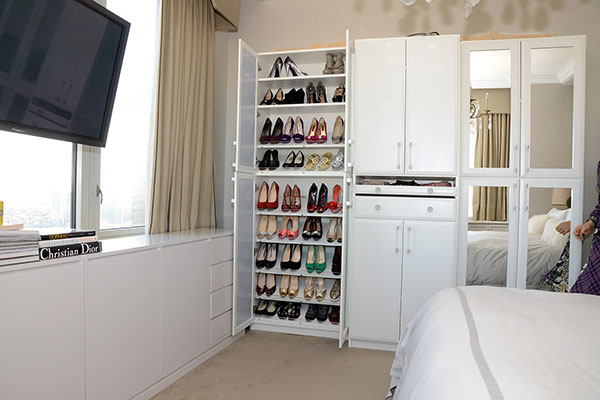 Jill Zarin wardrobe closet in NY master bedroom.