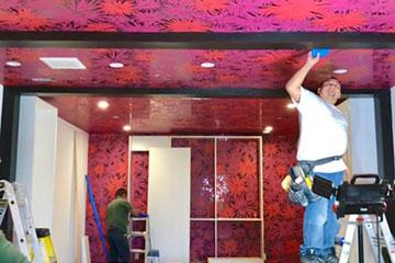 wallpapering Bella Thorne's closet