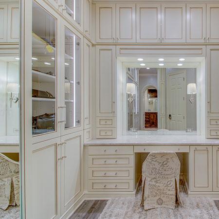 vanity area off walk-in closet