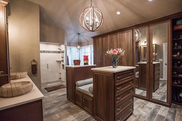 wood wardrobe closets in nbathroom