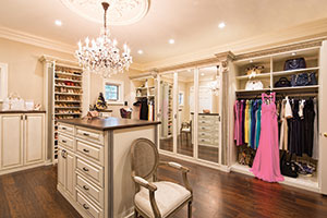 Orlando antiqued painted walk-in closet in traditional style