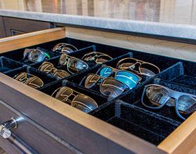 sunglasses drawer lined in velvet