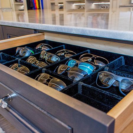 island drawer is for sunglasses organization