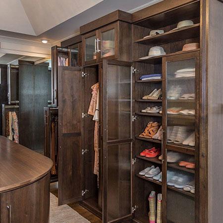 interior wardrobe has shoes on shelves.