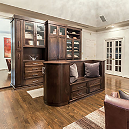 wardrobe closet and island in sitting room