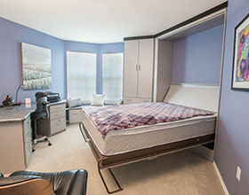open murphy bed in condo