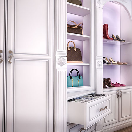 cabinet and drawers in dressing room