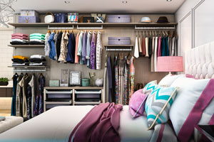 Studio apartment with a finesse reach-in closet system