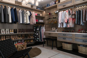 womens side view of finesse walk-in closet