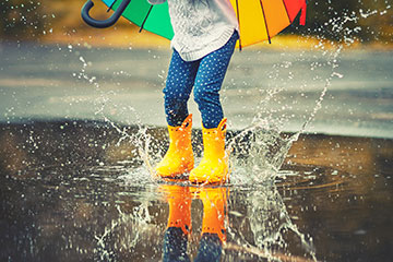 kid in rain boots