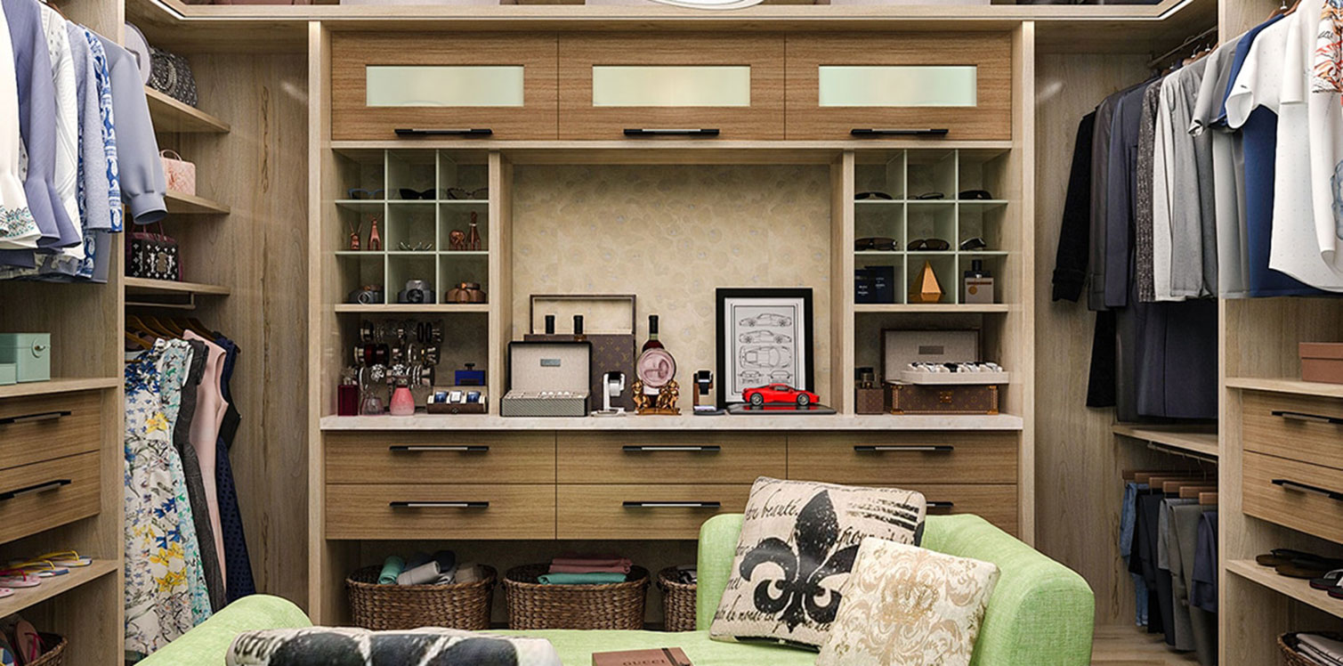 Luxury walk-in closet in wood grain melamine