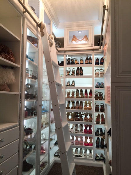 shoe closet with library ladder