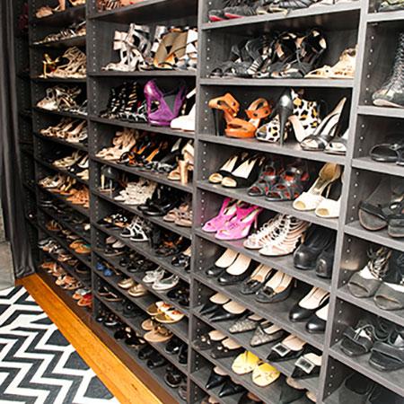 grey melamine shoe storage system