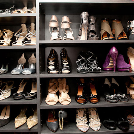 close up of shoes on shelving