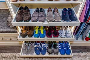 Shoe trays with men's casual shoes